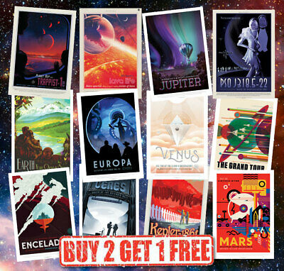 Nasa Retro Vintage Style Sci-fi Space Travel Planets Posters - A4/A3/A2/A1
