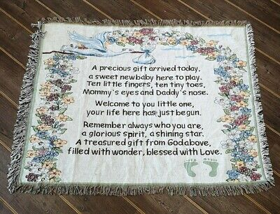 Lovely Poem for a New Baby Boy Blanket / Throw