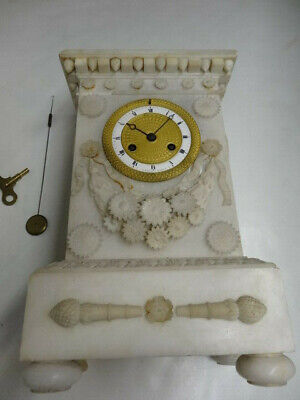 Antique French 8 Day Alabaster & Gilt Metal Ornate Silk Thread Mantle Clock