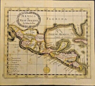 Extremely Rare Map Of Mexico Or New Spain 1685-1695 Genuine Frameable