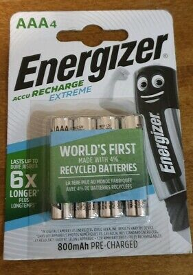 4 x Energizer AAA EXTREME Rechargeable Batteries 800 mAh Pre Charged NiMH HR03