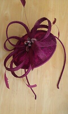 sinamay headband Pink Fascinator - feathers  crystal beads  sequins - LOVELY