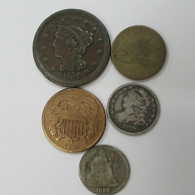 Lot Of 5 Type Coins 1835 Bust Dime 1888 Seated Dime 1858 Flying Eagle 1864 2