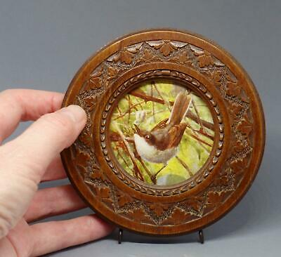 WOODEN Vintage/Antique CARVED OAK Round PHOTOGRAPH Photo/Picture FRAME