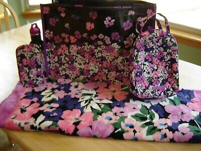 Vera Bradley Lot Flower Garden Beach Towel Tote Lunch Water Bottle Eye Case NWT