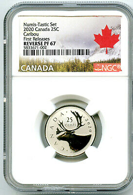 2020 Canada 25 Cent Ngc Pf67 Numis-Tastic Reverse Proof Quarter First Releases