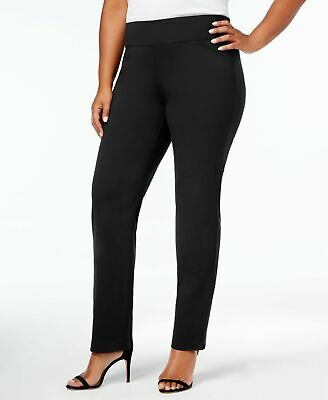 Charter Club Womens Pants Deep Black Size 20W Plus Slim-Leg Stretch $69 377