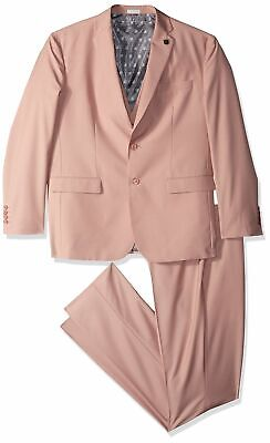 Stacy Adams Mens Suit Pink Size 44 Notch-Collar Slim Fit 3 Piece $399 538