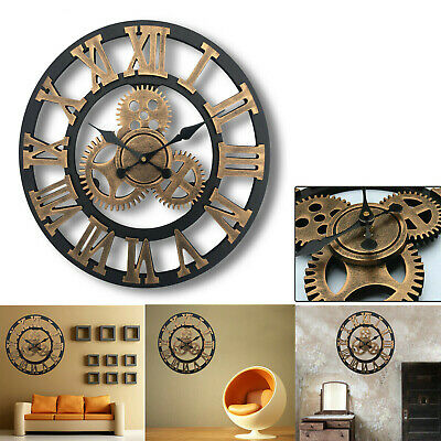 Large Outdoor Garden Wall Clock Big Roman Numerals Giant Open Face Metal 60cm PI