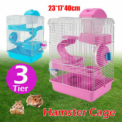 3-Tier Hamster Cage Small Rodent House Gerbil Mice Mouse Cages Animal Play Home