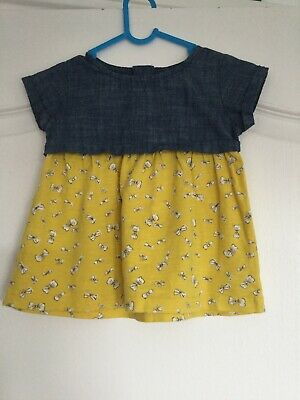 Baby Girls Denim & Yellow Cotton  Short Sleeved Dress Age 3-6 Months By Next