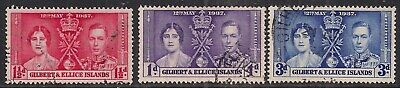 Gilbert & Ellice Islands 1937 KGV1 Set Coronation used SG 40 - 42 ( E1280 )