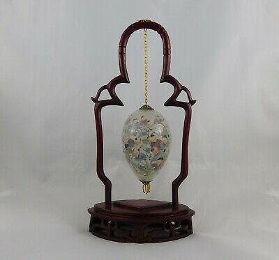 Vintage Chinese Hanging Glass Egg Reverse Hand Painted with Wooden Stand
