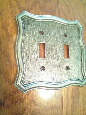 Vintage American Tack & Hardware Brass Plated Double Light Switch Cover W/Screws