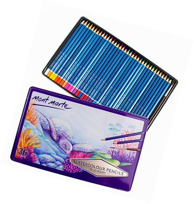 MONT MARTE Watercolour Pencils Set - 36 pieces in a classy Metal Case - Pens, id