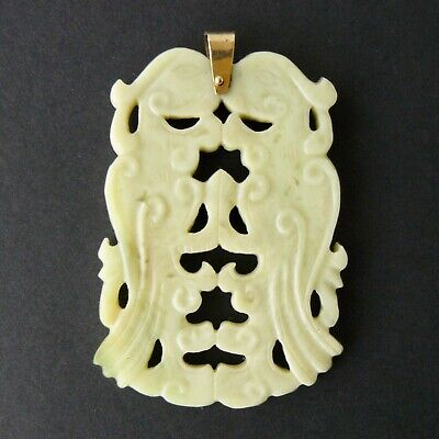 Vintage Chinese Carved Celadon JADE Pendant Double PHOENIX Gold Filled 22.4g