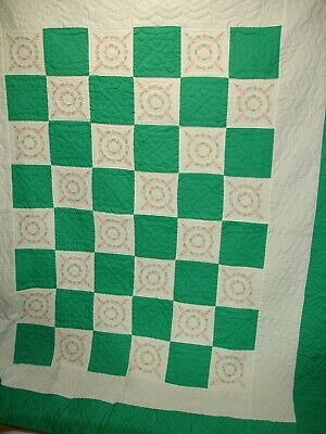 Q42, Vintage Quilt, Green & White, Embroidered Flowers, Hand Quilted, 80X 70 in.