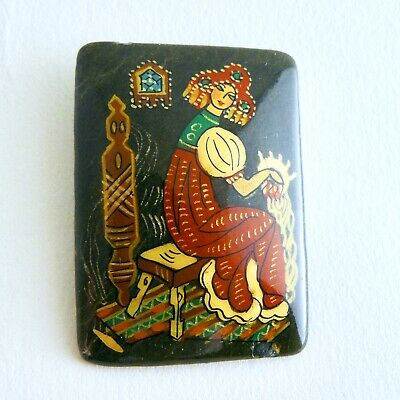 Vintage Russian Hand Painted Stone Brooch Pin Folk Tale Woman Spinning Wheel