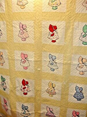 Q28, Vintage Sunbonnet Sue Quilt,  Appliqued & Embroidered, Hand Quilted 72 X 85