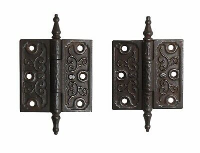 Pair of Victorian 3.5 x 3.5 Cast Iron Butt Antique Door Hinges