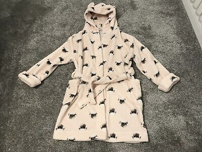 Girls Mink Pink Hooded Dressing Gown With Pug Motive all Over Age 7-8 Years Next
