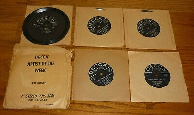 Decca Artist of the Week: 5 Roy Drusky 7 inch 33 1/3 rpm records with package