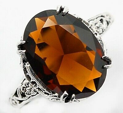 6CT Smoky Topaz 925 Solid Sterling Silver Nouveau Style Ring Jewelry Sz 9