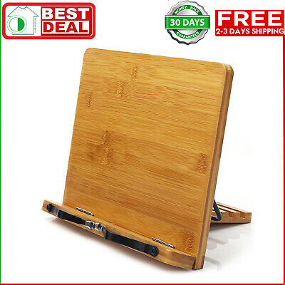 BamBoo Book Stand - wishacc Reading Rest holder Cookbook Cook Stand/Foldable Tab