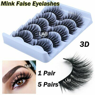 5 Pair 3D Mink False Eyelashes Wispy Cross Long Thick Fake Eye Soft Lashes UK