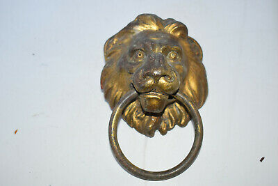 Vintage Brass Lion Head Ring Drawer Door Pull Handle 9cm 318g       a49
