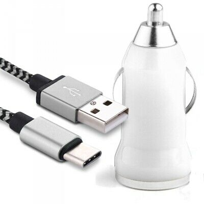 Chargeur Voiture Allume-Cigare Câble USB Type C Blanc pour Huawei P Smart 2019