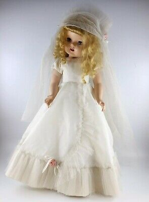 Vintage 19 Inch Plastic Bride Doll With Bridal Gown & Veil