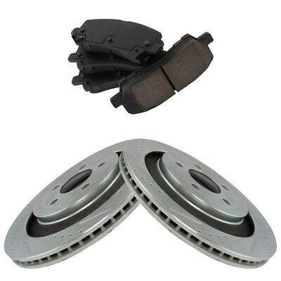 Rear Ceramic Brake Pads & Performance Drilled Slotted Zinc Rotors for Mustang