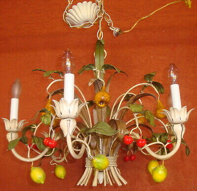 6 Arm Toleware Lemon Lime Pear Cherry Chandelier Ceiling Light Tole Ware Iron 2'
