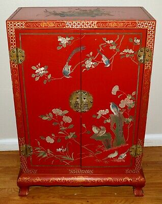 Antique Chinese Wooden Hand Carved Wedding Cabinet With Original Lock & Key