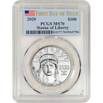 2020 American Platinum Eagle 1 oz $100 - PCGS MS70 First Day Issue Flag Label