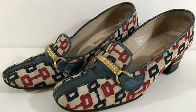 Vintage Women's GUCCI Heels-Red White, Blue & Gold-Size 8 ½