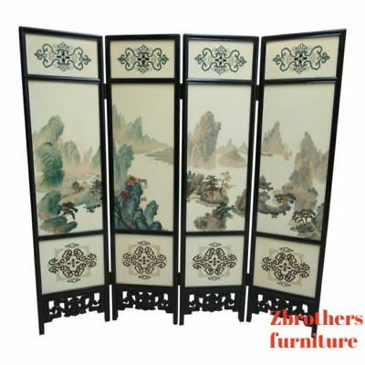 Vintage Pierce Carved Chinosoire Asian Folding Screen Room Divider