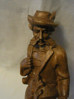 Vintage German Hand Carved Wood Haunting Man Black Forest Style #<
