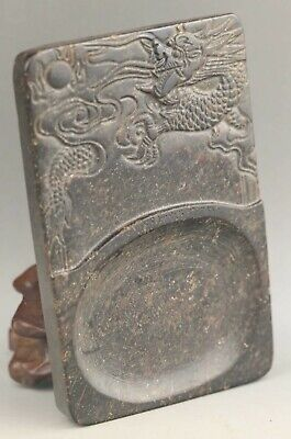 Chinese old natural jade hand-carved statue dragon inkstone pendant 4.5 inch