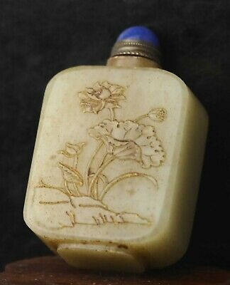 Chinese old natural jade hand-carved statue flower snuff bottle 2.1 inch