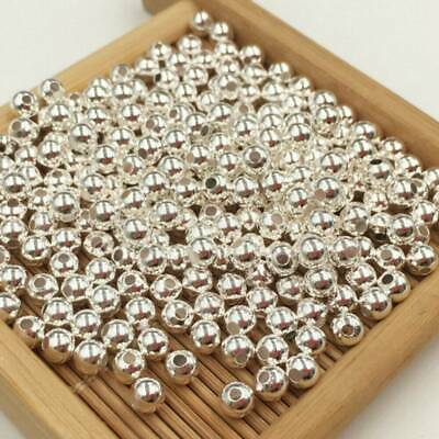 100PCS 3mm 925 Silver Round Ball Beads For Bracelet Jewelry Making Findings Lots