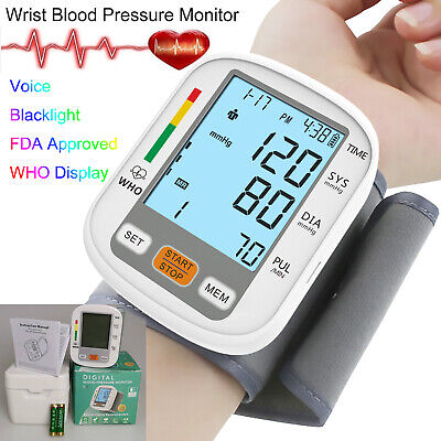 Automatic Digital Wrist Blood Pressure Monitor Voice Backlight LCD BP Cuff Meter