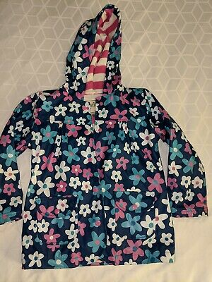 Girls, Hatley Size 6 Navy With Flowers, Terry Cloth Lined Rain Jacket