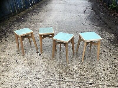 vintage retro Wood And Vinyl Stool Set