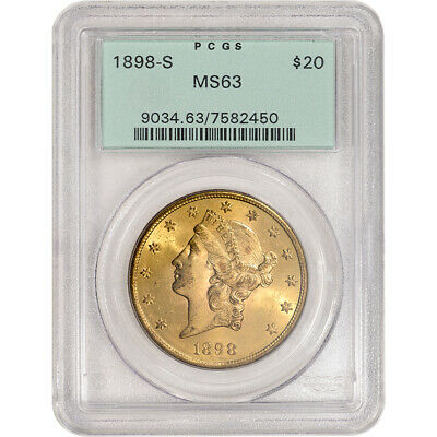 1898-S US Gold $20 Liberty Head Double Eagle - PCGS MS63