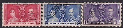 Gilbert & Ellice Islands 1937 KGV1 Set Coronation used SG 40 - 42 ( F68 )