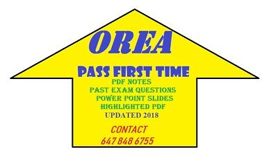 Orea Exam Notes And Questions 2020