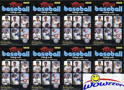 (8) 2020 Topps Heritage Baseball EXCLUSIVE Factory Sealed HANGER Box-280 Cards!