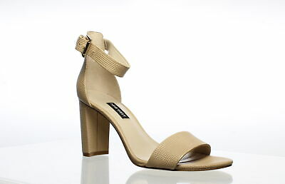 Nine West Womens Nora Beige Ankle Strap Heels Size 8.5 (701019)